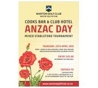 The Cooks Bar & Club Hotel Anzac Day Tournament (Includes Draw)