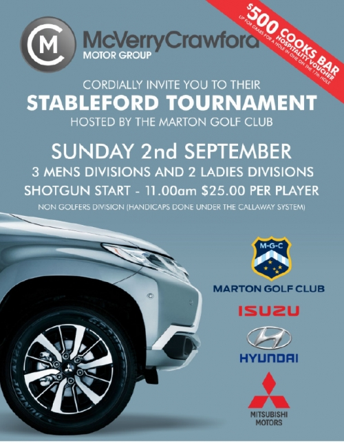 McVerry Crawford Motors  18 hole Stableford Tournament (Click for draw)